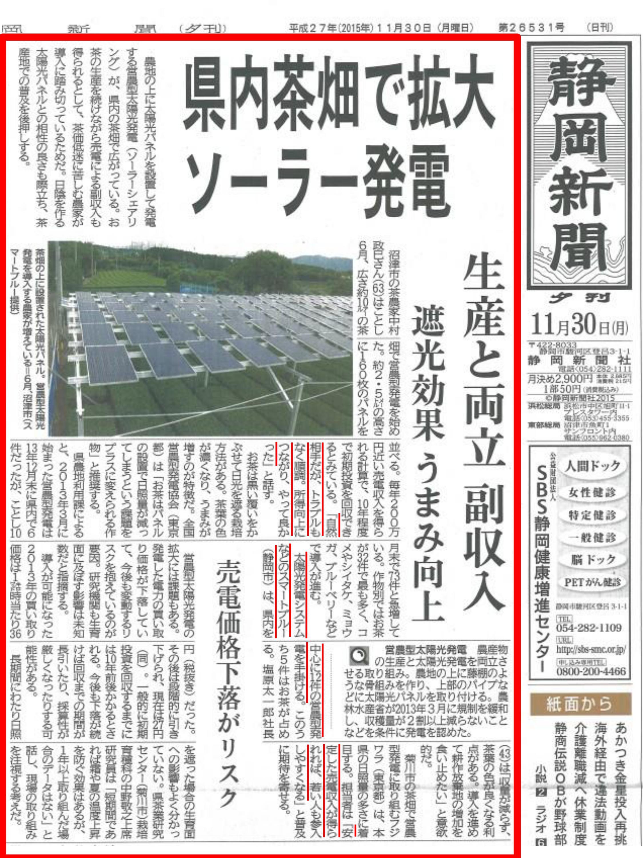 茶畑ソーラーシェアリングが静岡新聞のトップ記事に